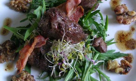 Smoked Pigeon Breast, Pancetta & Salted Caramel Walnut Salad